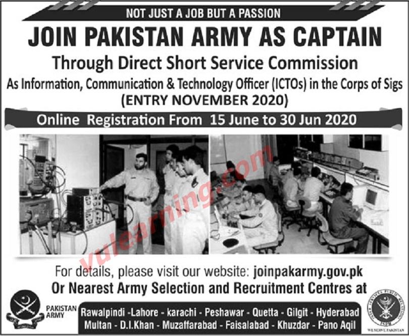Join Pakistan Army as Captain through Direct Short Service Commission 2020 June Online Registration
