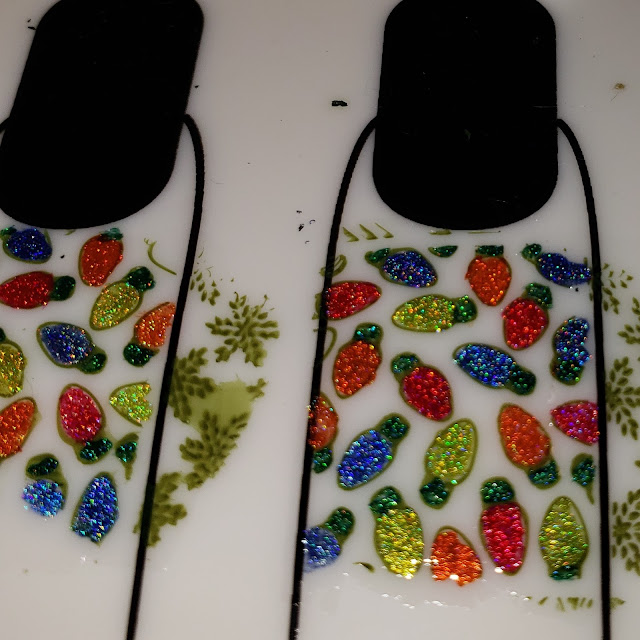 christmas nail art, christmas lights, christmas lights nail art,