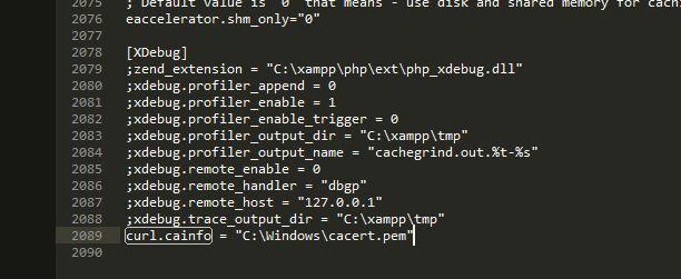 mengatur konfigurasi php.ini untuk certificate