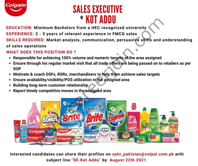Colgate Palmolive Jobs Sales Executive