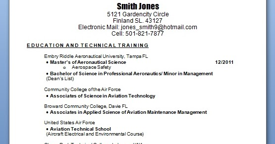 avionics technician sample resume format in word free download