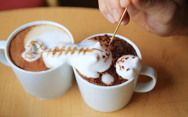3d latte art method of preparing coffee