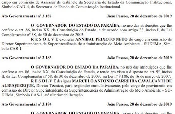 EXONERAÇÃO: Governador da Paraíba exonera gestores da Sudema, IPHAEP e Espep.