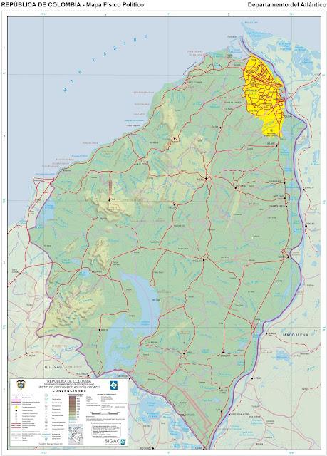 Mapa da Colômbia - Departamento do Atlântico