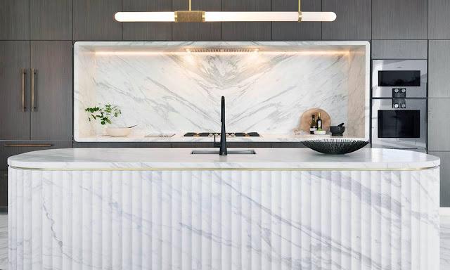 White Marble Kitchen Countertops