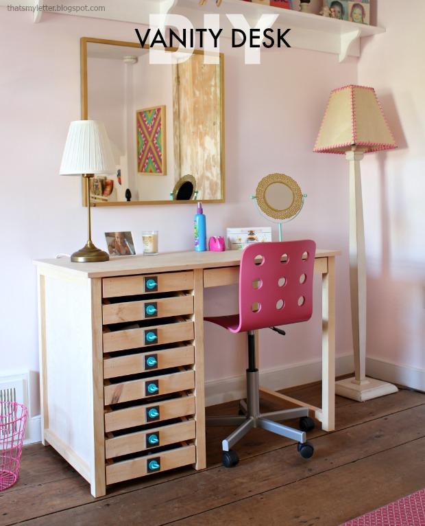 diy vanity desk with free plans