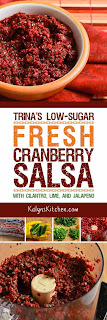 Trina's Low-Sugar Fresh Cranberry Salsa with Cilantro, Lime, and Jalapeno found on KalynsKitchen.com