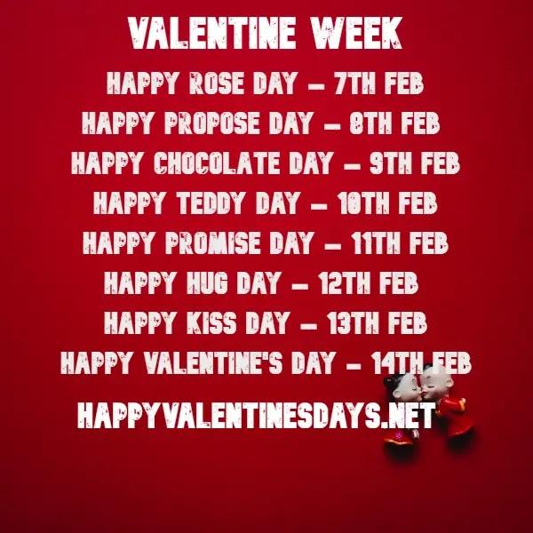 💗 February Days - 7 feb to 21 feb days list : Check Valentine's Week List 2021 Dates calendar 💗