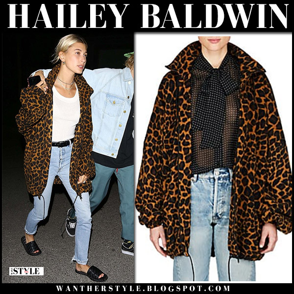 Hailey Baldwin in leopard print balenciaga jacket and jeans casual model style august 28