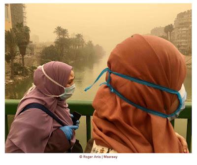 Egyptian women in masks during Coronavirus era