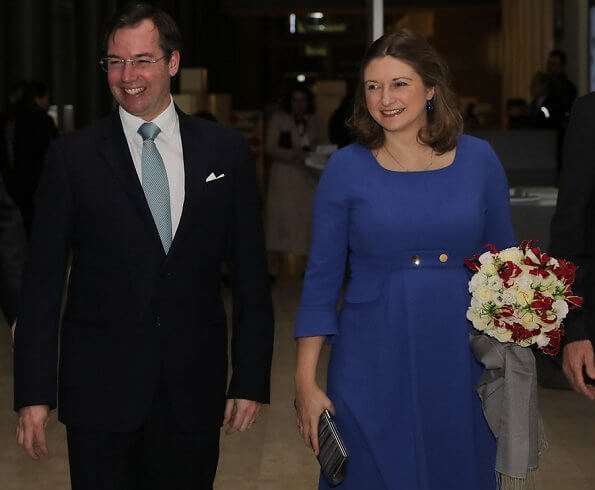 Princess Stephanie wore Seraphine royal blue tailored maternity dress. Kate Middleton, Duchess of Cambridge same Seraphine dress