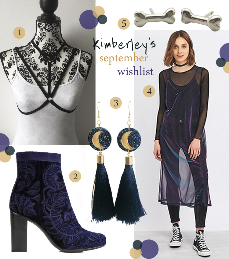 Wishlist, wish list, blogger wishlist, halloween wishlist, spooky wishlist, black fashion harness, Shop Noxious, patterned boots, navy boots, Ted and Muffy, Urban Outfitters, navy dress, mermaid dress, silver bone earrings, Karen Smith jewellery, moon earrings, tassle earrings, Suzywan Deluxe