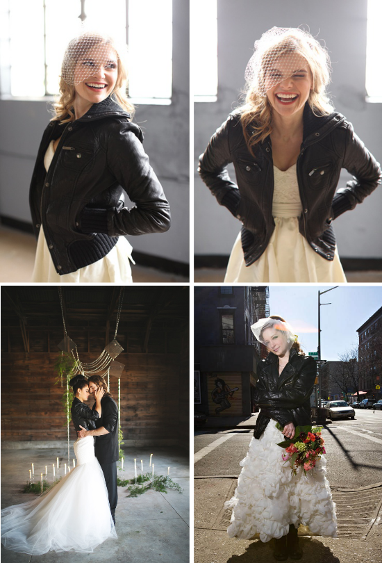 alternative alla stola da sposa, bride with leather jacket