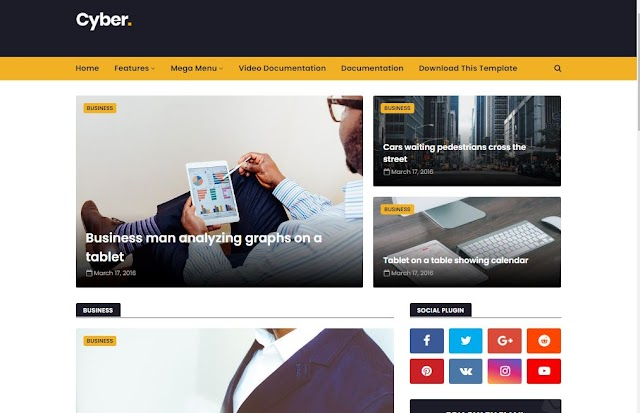 Cyber Blogger Responsive  Premium Template 2020 - Ads Ready Theme