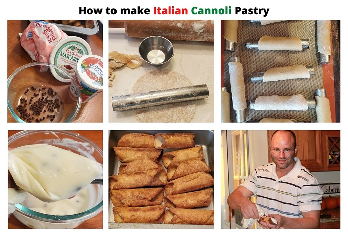 this is how to make cannoli Italian pastry with a collage of step by step photos