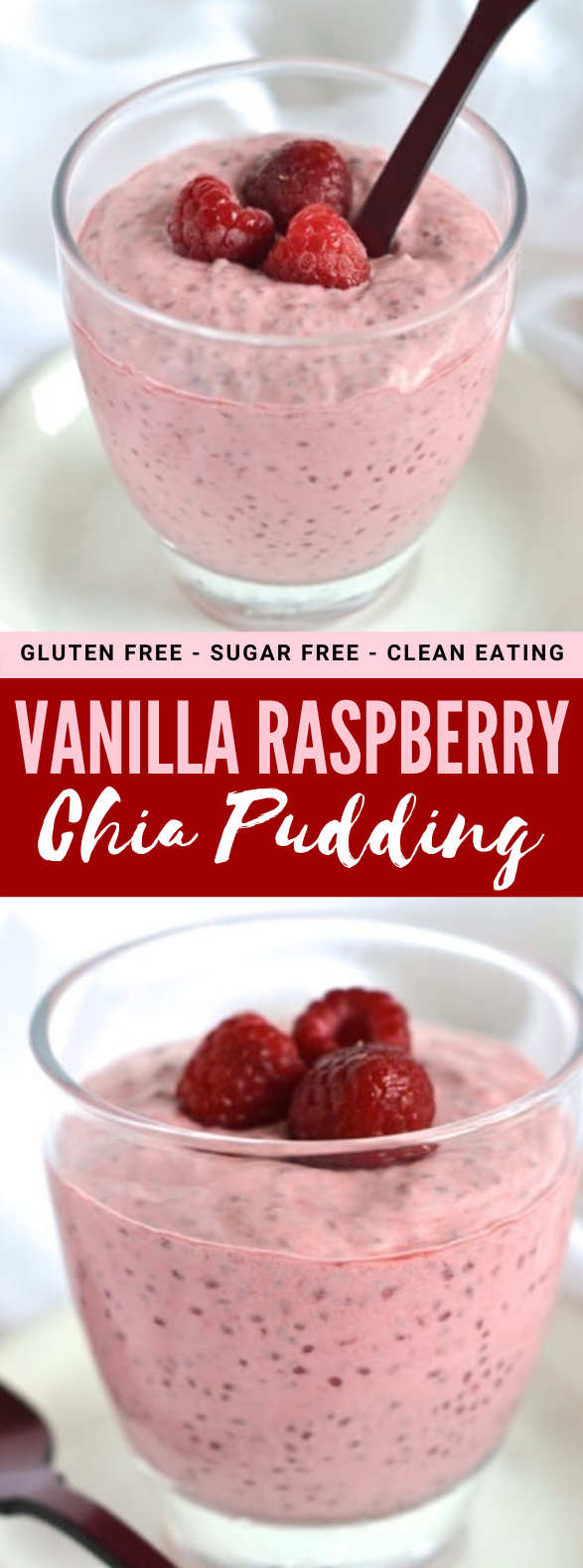 Vanilla Raspberry Chia Pudding #healthy #breakfast