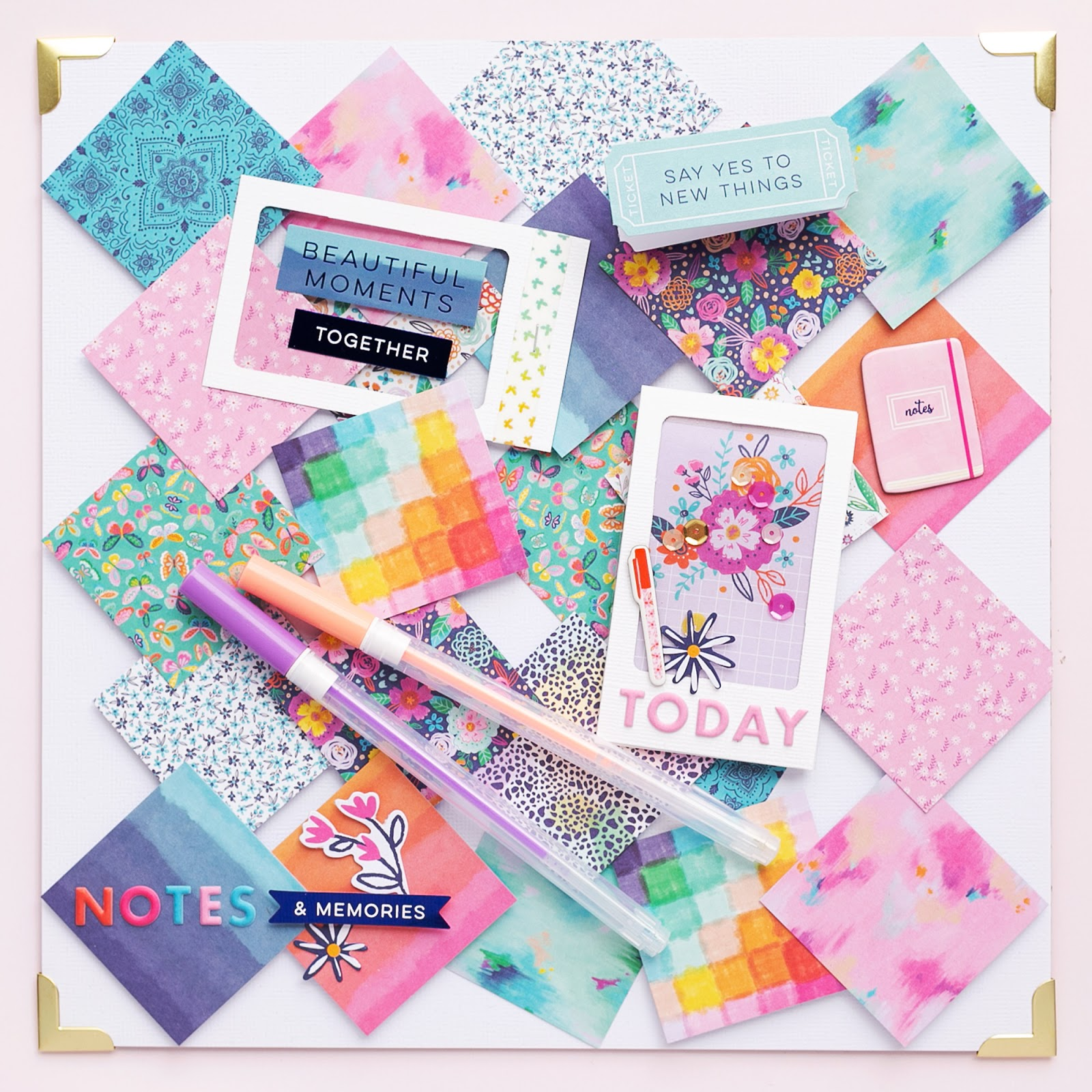 Pretty Memo Board with frames made with the Frame Punch Board from We R Memory Keepers