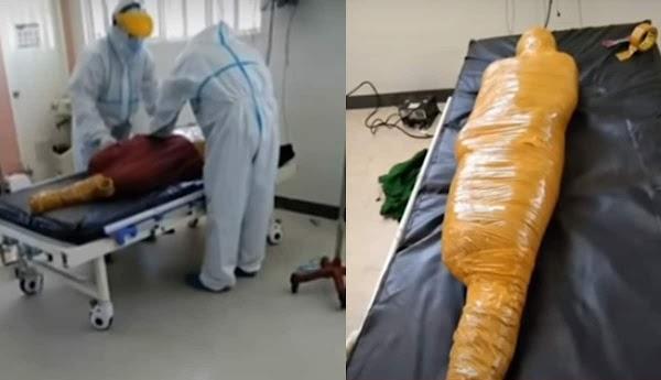 Hospital confunde a joven herido en accidente con paciente covid y lo envuelve como momia