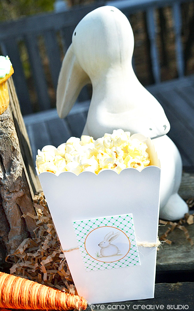 popcorn box, easter bunny, carrot, easter tags, easter snack ideas