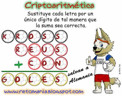 Criptoaritmética, Criptosumas, Alfaméticas, Mundial Rusia 2018, Mundial de fútbol, Juego de letras