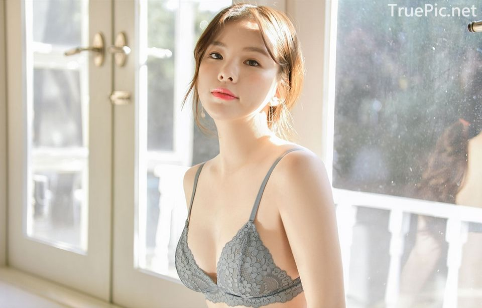 Korean model and fashion - Lingerie queen Haneul - Gray blue Lingerie set - Picture 8
