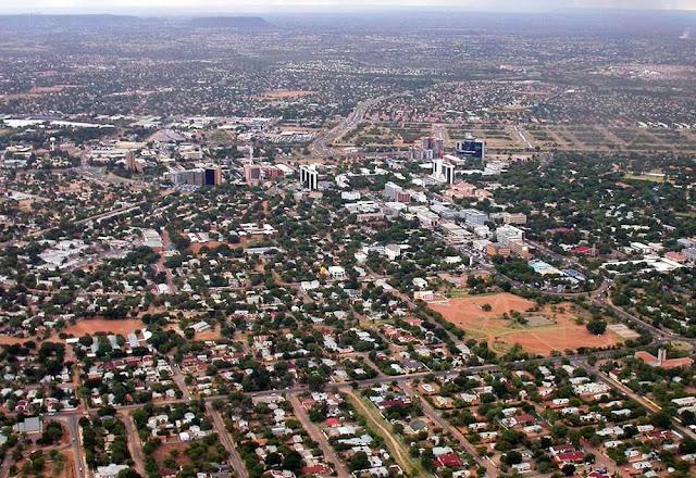 Vista aérea de Gaborone – Botsuana