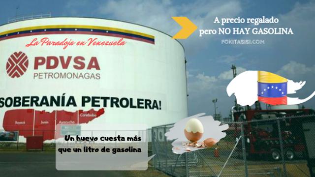 (Imagen) Si te preguntas cuanto cuesta la gasolina en Venezuela, te pongo la siguiente comparación: un huevo en casi cualquier supermercado en Venezuela cuesta 933 bolivares, mientras que un litro de gasolina cuesta 0,00001 Bolivares