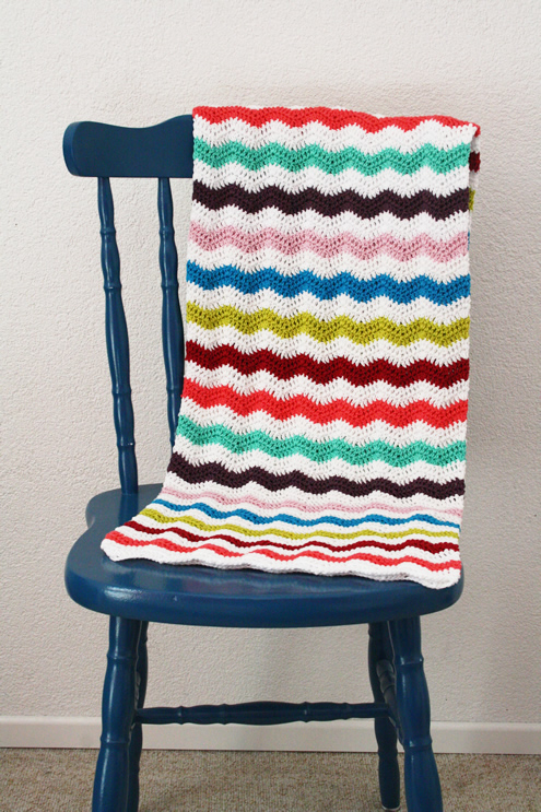 Crochet ripple stitch blanket