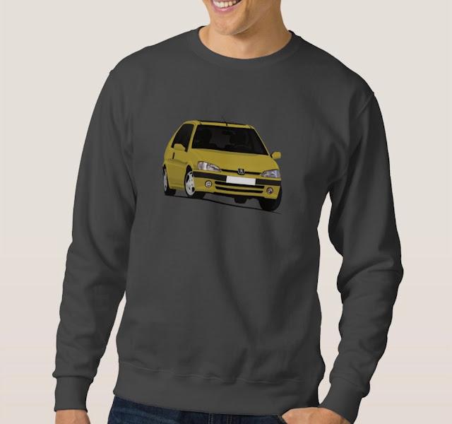 Cornering Peugeot 106 gti in T-shirt in yellow