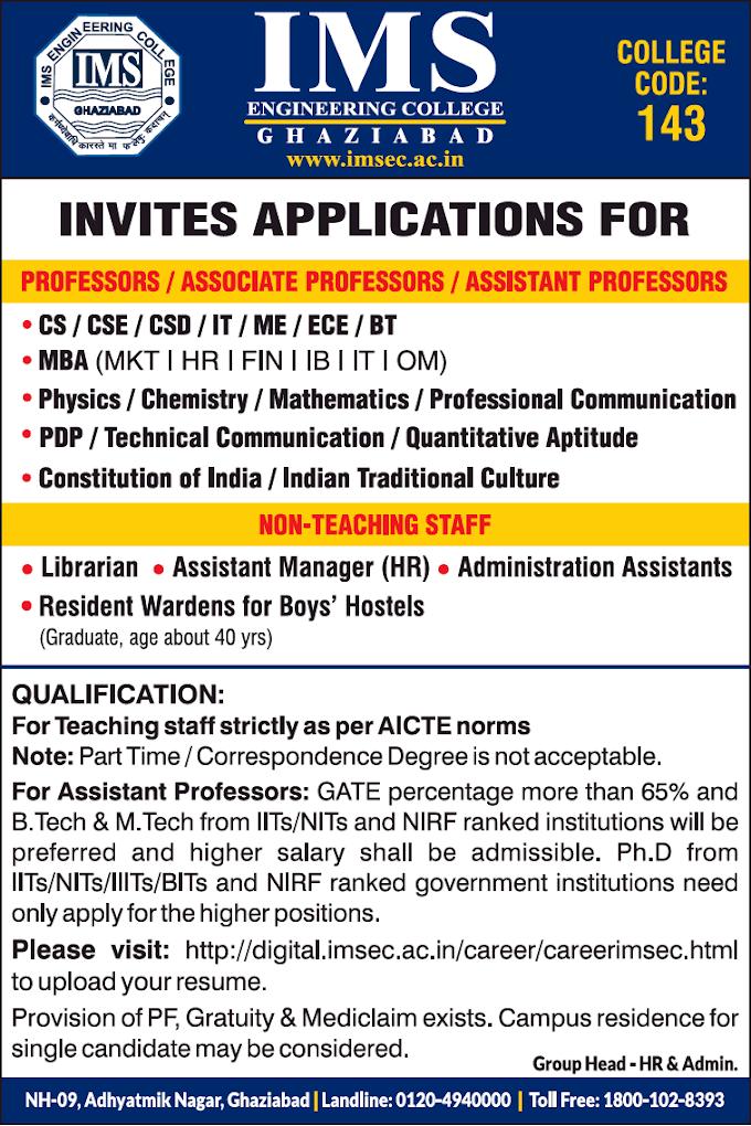 IMS Ghaziabad Biotech Faculty Jobs