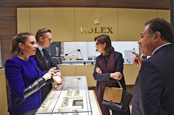 Princess Caroline of Hanover visits the Gassan Diamonds factory with CEO of the Gassan Diamont