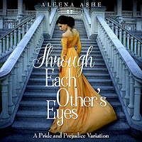 Through Each Other's Eyes audiobook cover. A pretty woman in a yellow own stands on the steps of a grand house.