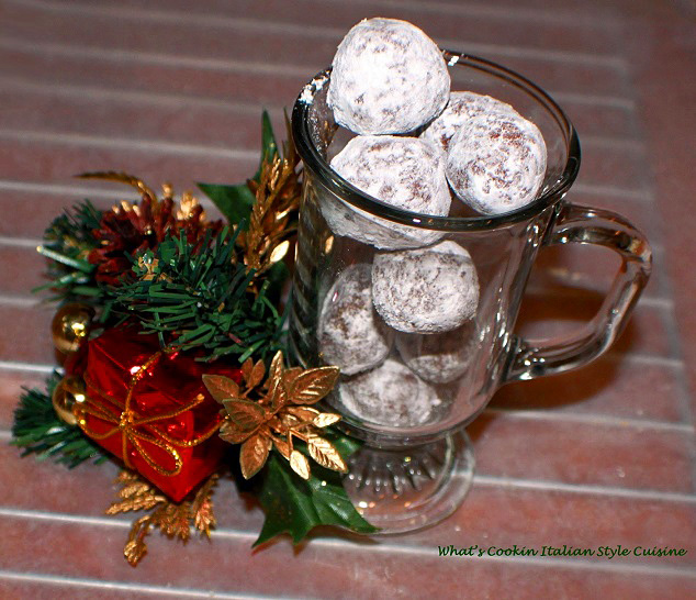 these are rum balls in a see through glass mug