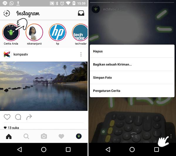 menyimpan foto dan video Instagram Stories
