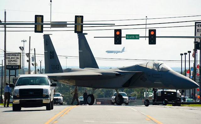 mcdonnell douglas f-15 eagle literally on the road