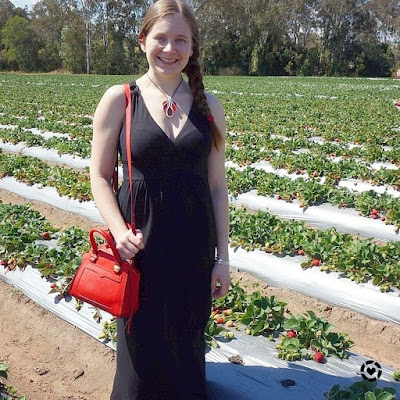 awayfromtheblue instagram | strawberry picking outfit for picnic chambers flats black maxi dress red accessories
