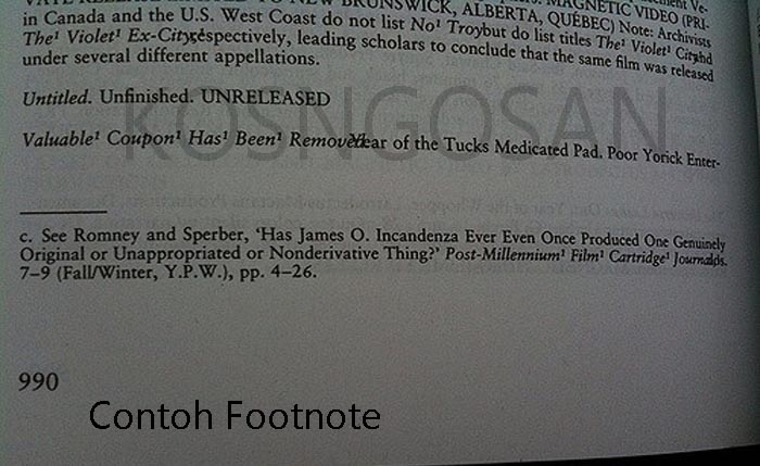 contoh footnote catatan kaki