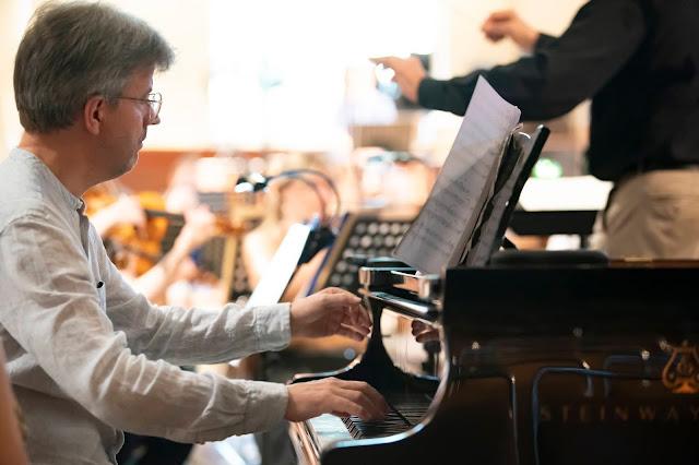 Mark Bebbington at 2019 recording session for Resonus Classics' first Poulenc disc (Photo Nick Rutter)