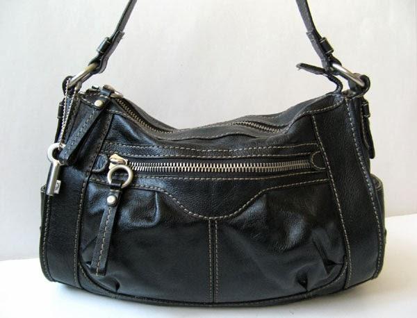 Fossil Black Leather Large Chloe Shoulder Handbag Womens
