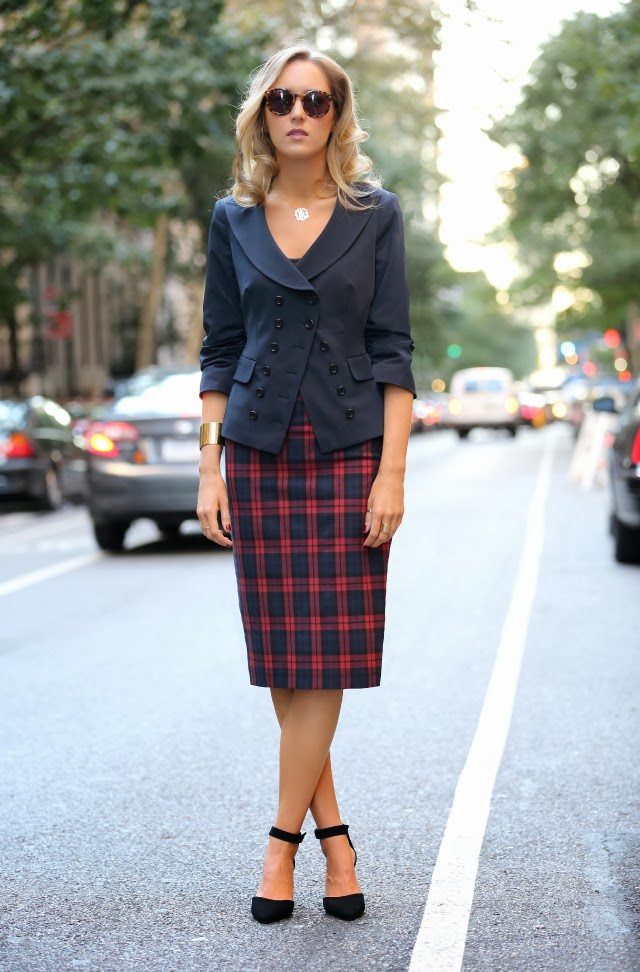 zara plaid pencil skirt tartan elizabeth and james double breasted navy blazer ruched sleeves karen walker super duper tortoise sunglasses asos suede ankle strap pointed heels j. crew cuff gorjana stacked rings street style fall fashion trends 2013 new york city nyc the classy cubicle fashion blog for young professional women females woman girls 20s 30s 40s appropriate work wear office attire outfits professional corporate suit dos and donts crimes top ten day to night transition interview preppy office style dress for success step up lean in suit up