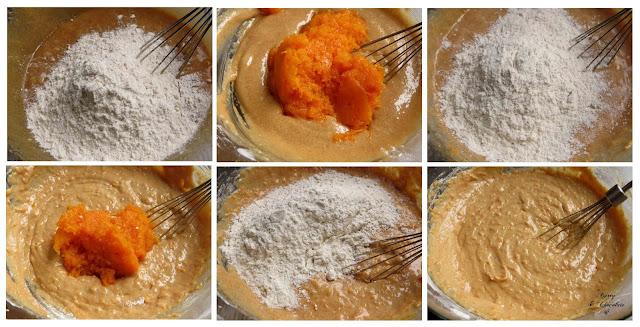 Añadiendo la harina y el puré de calabaza