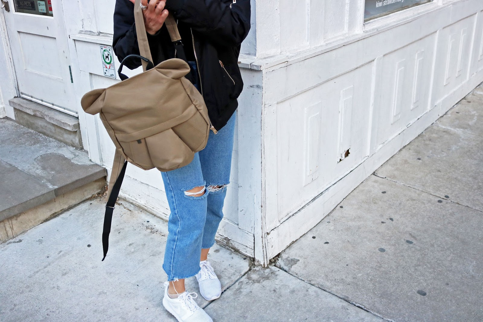 Origami Backpack, Denim Jeans, White Sneakers