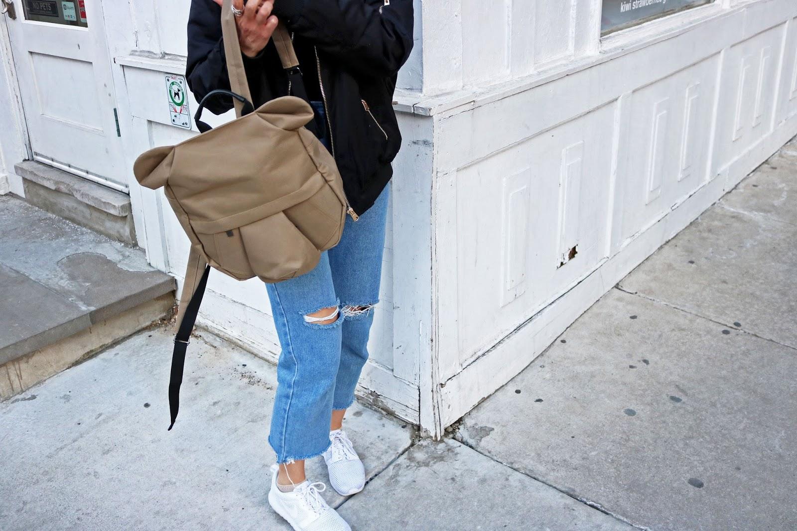 Origami Backpack, Denim Jeans, White Sneakers