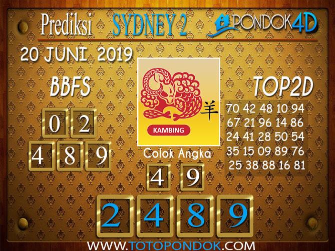 Prediksi Togel SYDNEY 2 PONDOK4D 20 JUNI 2019