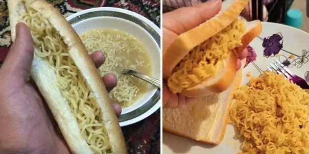 6 Potret Cara Makan Mi Pakai Roti Ini Bikin Tepuk Jidat