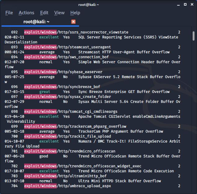 Metasploit Framework  search exploits