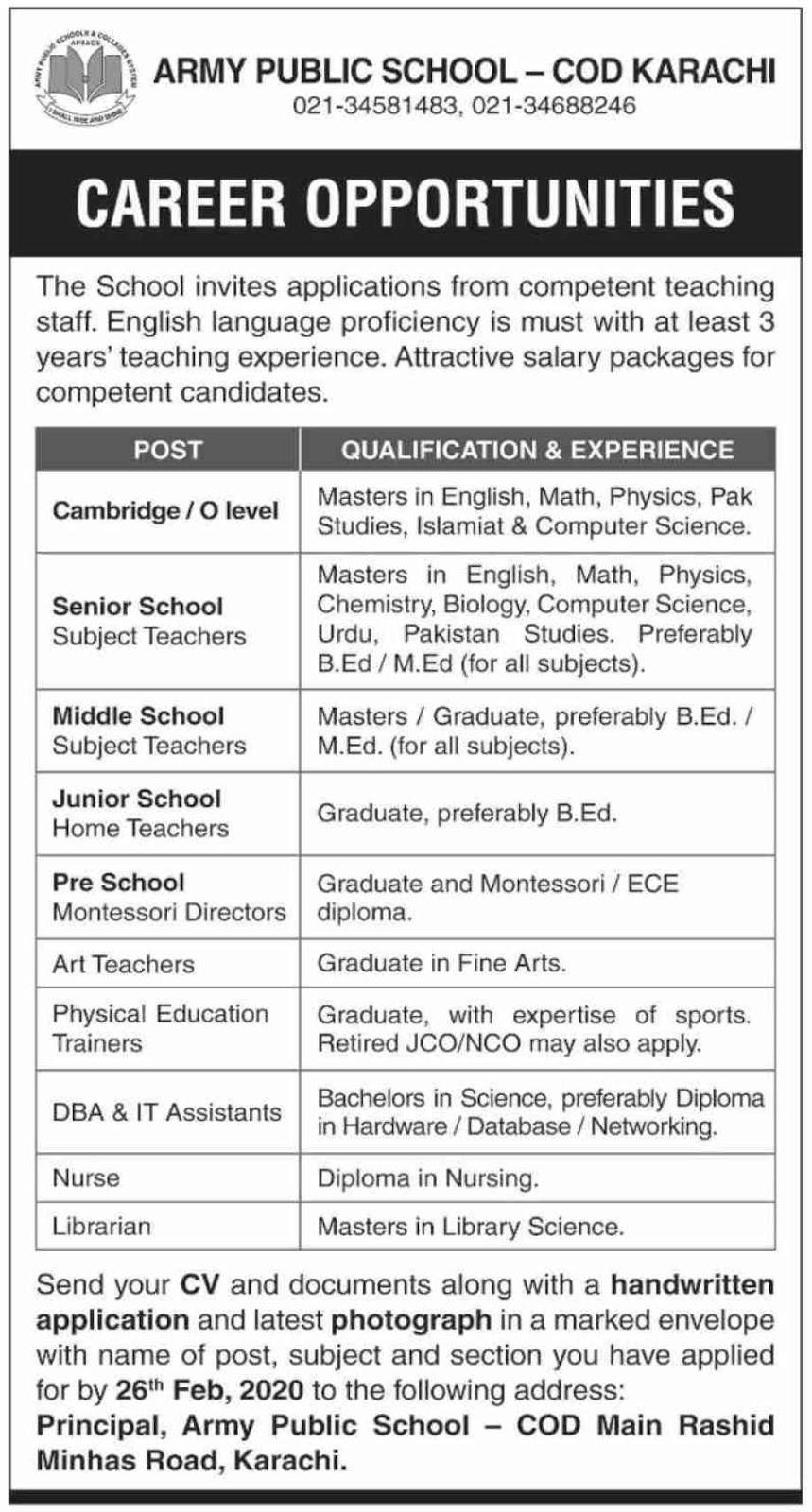 Army Public School COD Karachi Jobs 2020
