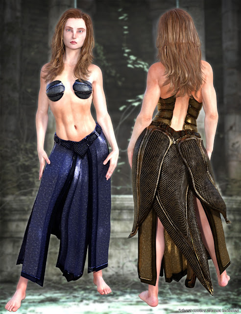 Eagle-Guard Torso Armor and Kilt for Genesis 3 Female and Male