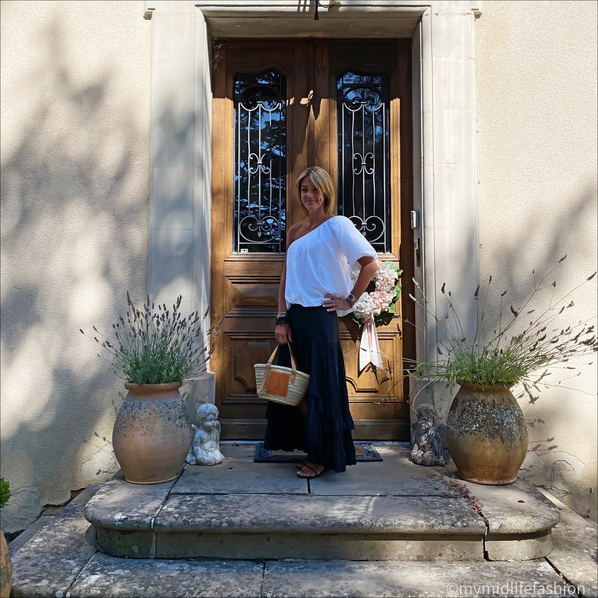 my midlife fashion, Ancient Greek eleftheria braided leather sandals, zara off the shoulder top, Isabel Marant Etoile tiered cotton maxi skirt, lada jewelry small tote basket
