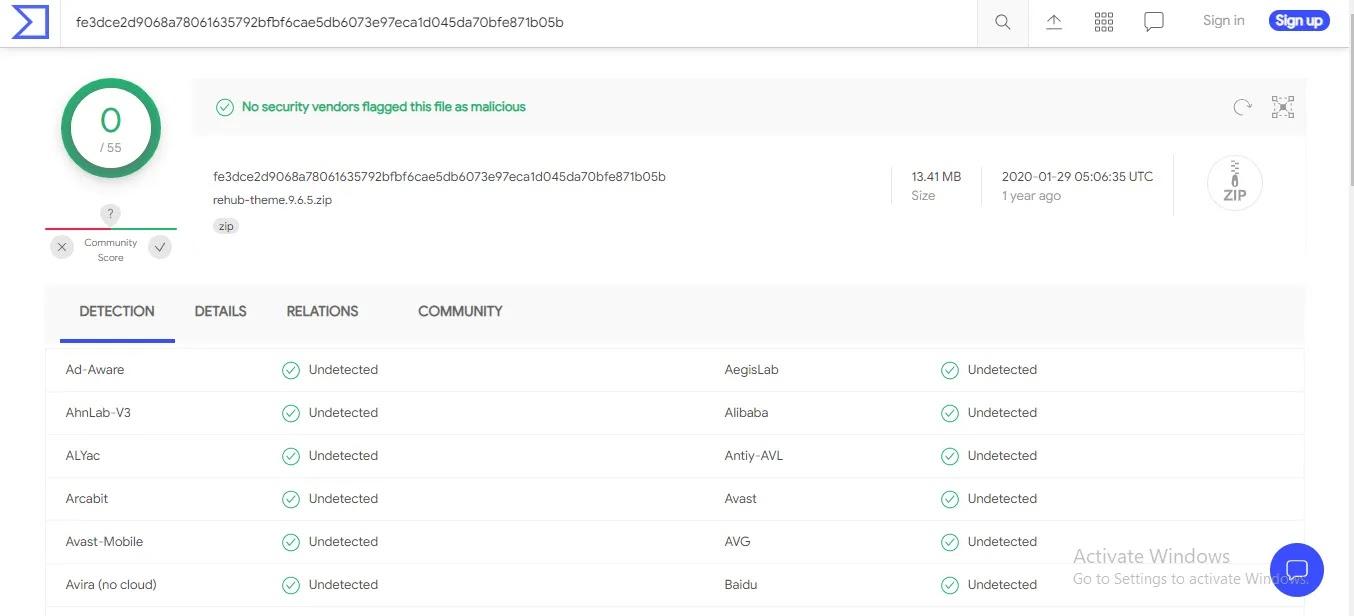 Rehub WordPress Theme scan result
